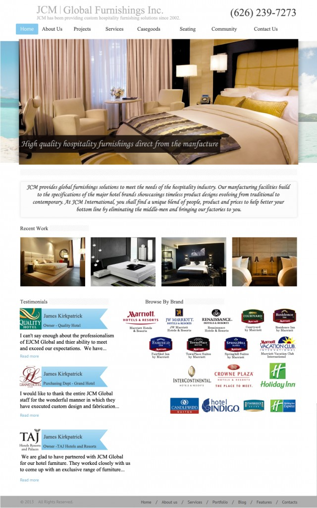 Furniture Mock Website Design