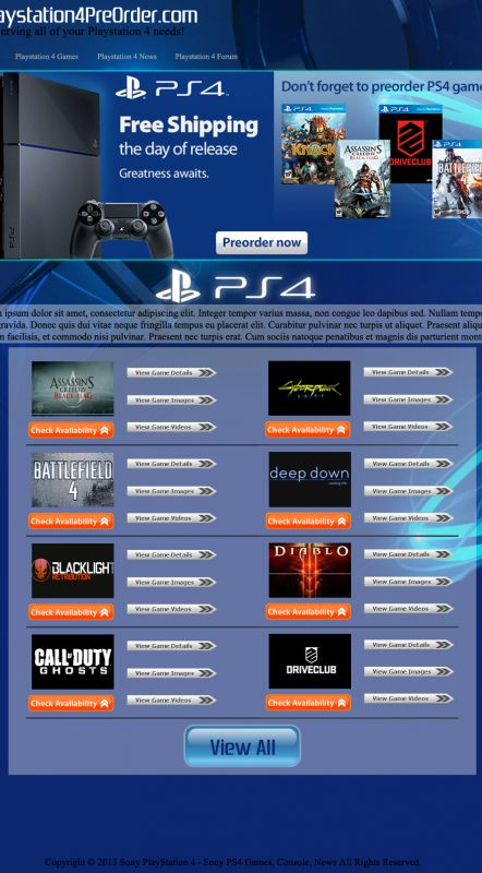 PlayStation 4 Call to Action Website Design