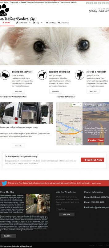 Transport Service Mobile Web Design Mockup